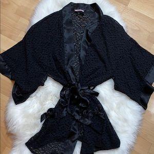 Victoria's Secret Black Soft Lace Kimono